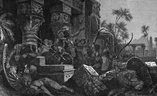 'Einfall der Hyksos' by Hermann Vogel. The Hyksos invaders are depicted just after a victorious battle against the Egyptians. (Public Domain)