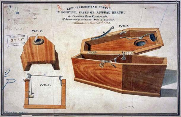 Eisenbrandt's life preserving coffin – an elaborate safety coffin. (Licorne37 / Public Domain)