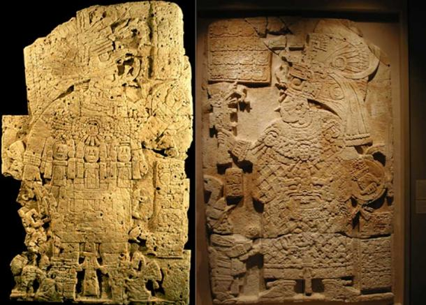El Peru Stelae 33 (left) and 34 (right), portraying K'inich Bahlam II and Lady K'abel.