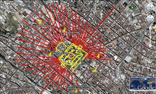 El Sol de Oro overlayed on a map of Quito's historic center. (Credit: Diego Velasco) The long meridian that transverses the face is Calle Venezuela; it traces the important ceque that runs in a NE-SW  direction through the center of Quito