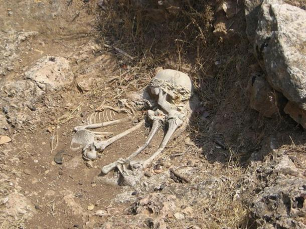 """Another well-known Natufian burial at the """"El-Wad Terrace"""" archaeological site in the """"Nahal Me'arot"""" Nature Reserve, Israel."""