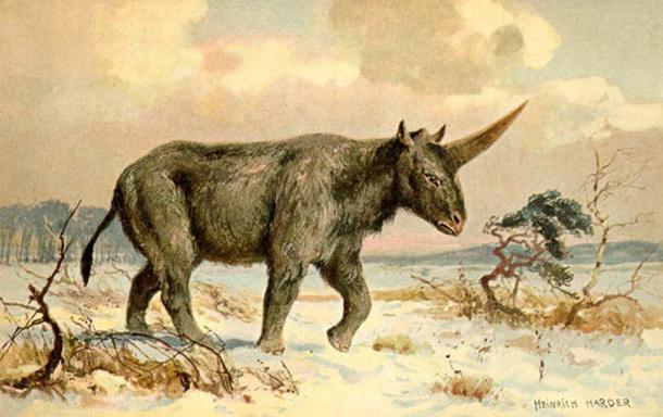 'Elasmotherium' (circa 1920) by Heinrich Harder.