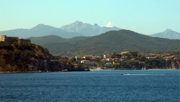 View of the coast (Portoferraio) of the Elba island.