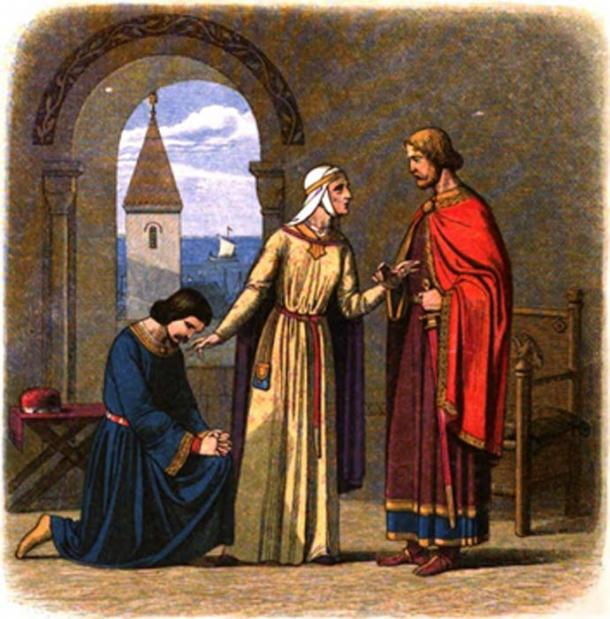 Eleanor of Aquitaine entreats her son Richard I to pardon his brother, John, a painting by James William Edmund Doyle. (Public Domain)