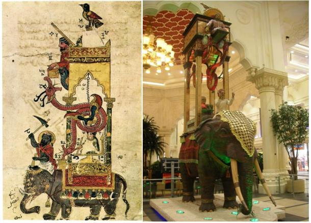 Left: The Elephant Clock from The Book of Knowledge of Ingenious Mechanical Devices by Ismail al-Jazari. (Public domain) Right: Reproduction of the elephant clock at the Ibn Battuta Mall in Dubai.