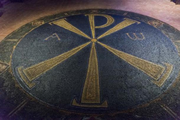 Elevated view of floor mosaic at Viminacium, Serbia (klevit / Adobe Stock)
