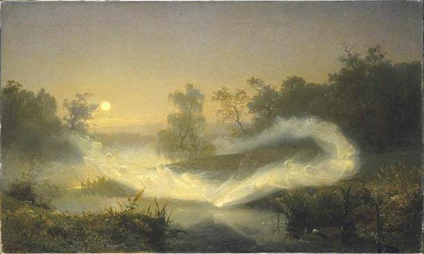 """Älvalek, """"Elf Play"""" by August Malmström (1866)."""