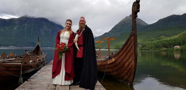 Elisabeth and Rune's Viking wedding included locally built longboats. (You Tube Screenshot)