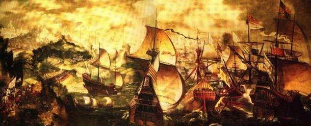 Elizabeth I and the Spanish Armada, an unsigned painting mistakenly attributed to Nicholas Hilliard.
