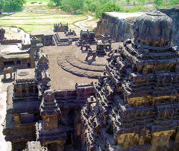 Ellora caves, Cave 16 - Kailasha Temple. Its construction is generally attributed to the 8th century Rashtrakuta king Krishna I.