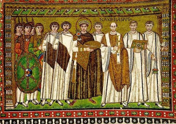 Emperor Justinian is depicted in the center with a halo around his head in this mosaic from Ravenna, Italy. (Michleb/CC BY SA 3.0)