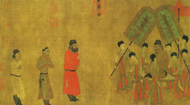Emperor Taizong gives an audience to Ludongzan the ambassador of Tibet. (Public Domain)