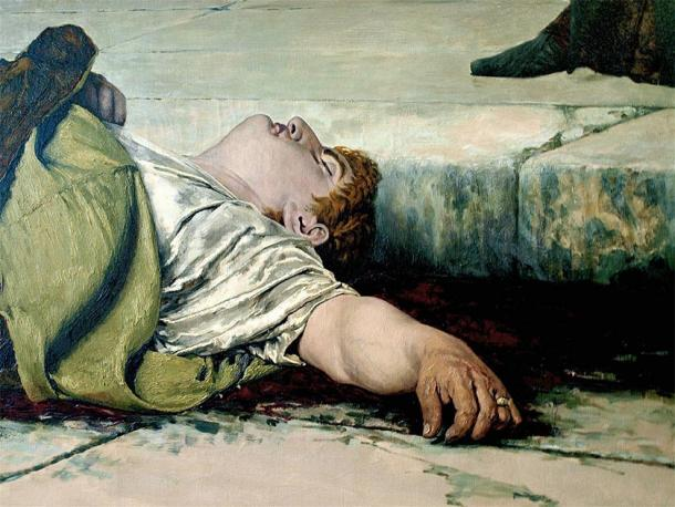 Emperor Nero lies dead on the floor after committing suicide. (sweejak / CC BY-NC 2.0)