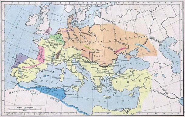 Empire of Attila the Hun (Orange) and the Roman Empire (Yellow)around 450 AD.
