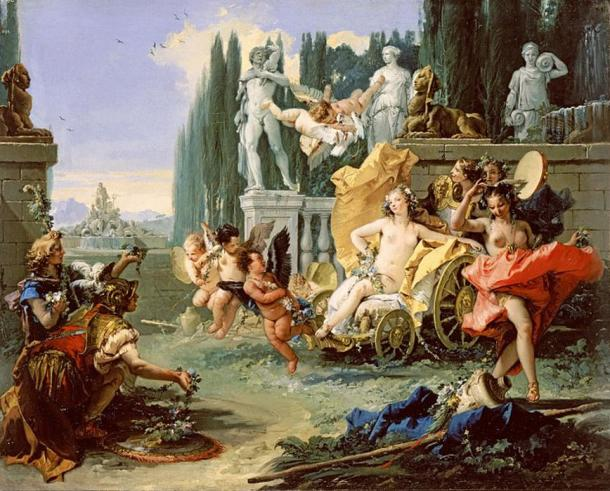 'The Empire of Flora' (circa 1743) by Giovanni Battista Tiepolo. (Public Domain) Based on Ovid's account of the Floralia, a festival to the Roman goddess Flora involving prostitutes.