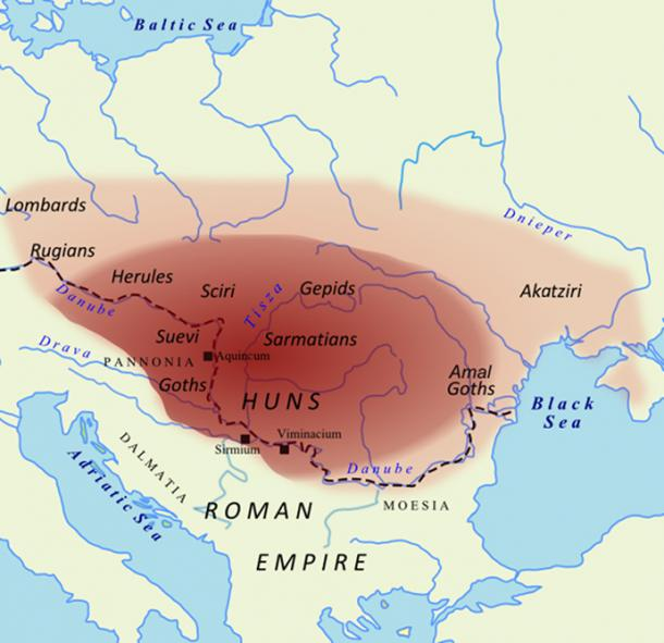 The Empire of the Huns and subject tribes at the time of Attila