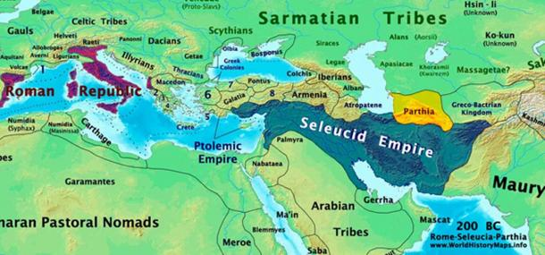 Roman, Seleucid, and Parthian Empires in 200 BC. Roman Republic is shown in Purple. The Blue area represents the Seleucid Empire. The Parthian Empire is shown in Yellow.