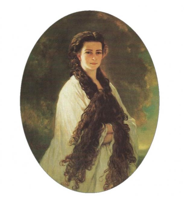 """There are many beliefs surrounding very long hair. Portrait of Empress Elisabeth of Austria (1837 – 1898) with her long hair, which was perfumed and treated with egg and cognac. """"Hairdressing takes almost two hours, she said, and while my hair is busy, my mind stays idle. I am afraid that my mind escapes through the hair and onto the fingers of my hairdresser. Hence my headache afterwards."""""""