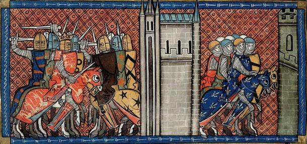 King John and England battling the French (left) and Prince Louis of France on the march (right)