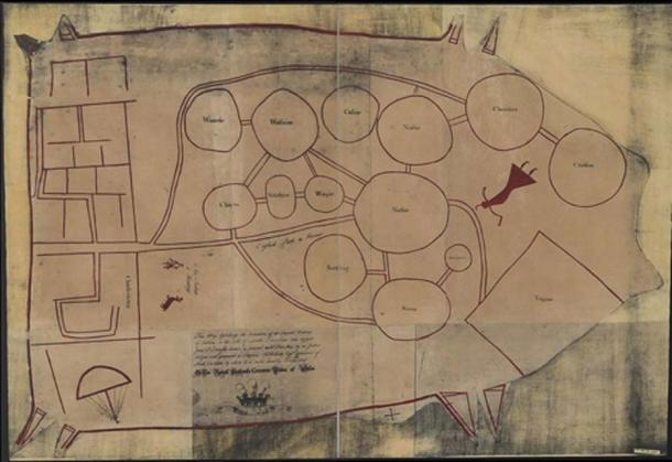 """A c.1724 English copy of a deerskin Catawba map of the tribes between Charleston (left) and Virginia (right) following the displacements of a century of disease and enslavement and the 1715–7 Yamasee War. The Cherokee are labelled as """"Cherrikies"""". (Public Domain)"""