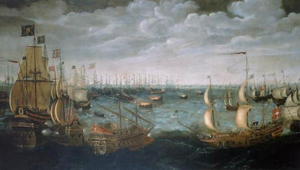 English fireships are launched at the Spanish armada off Calais