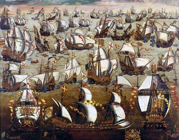 English ships and the Spanish Armada, August 1588. (Public Domain)