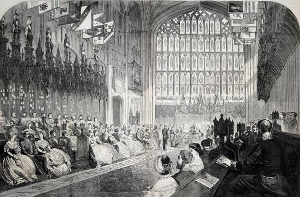 Engraved illustration from Harper's Weekly newspaper of the wedding of the Prince of Wales (later King Edward VII) and Alexandra of Denmark. (Public Domain)\