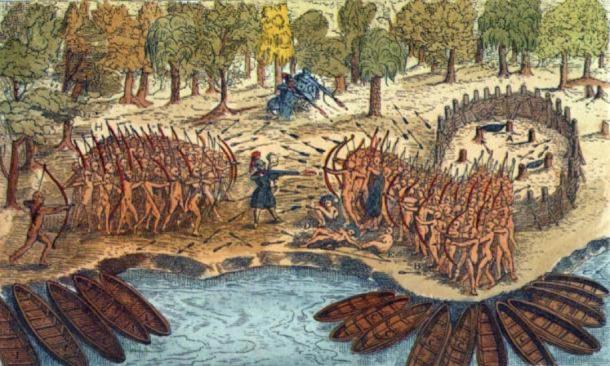 Engraving based on a drawing by Champlain of his 1609 voyage. It depicts a battle between Iroquois and Algonquian tribes near Lake Champlain. (Public Domain )