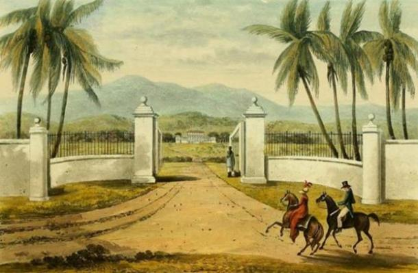 Engraving from James Hakewill's 'A Picturesque Tour of the Island of Jamaica' (drawings made in the years 1820 & 1821), it shows the Rose Hall Estate.