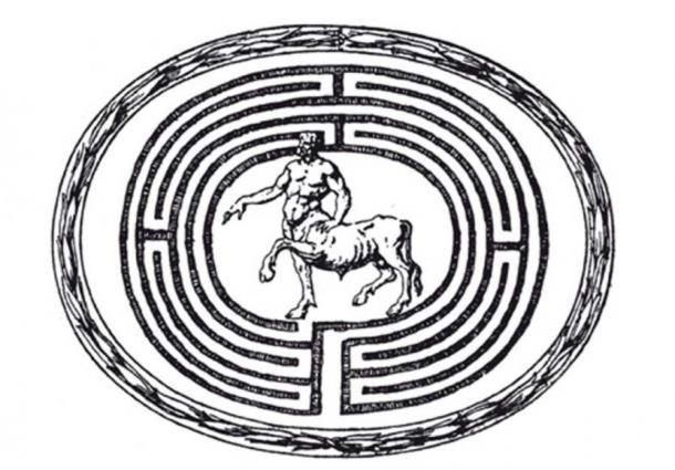 Engraving of the Minotaur in a labyrinth.
