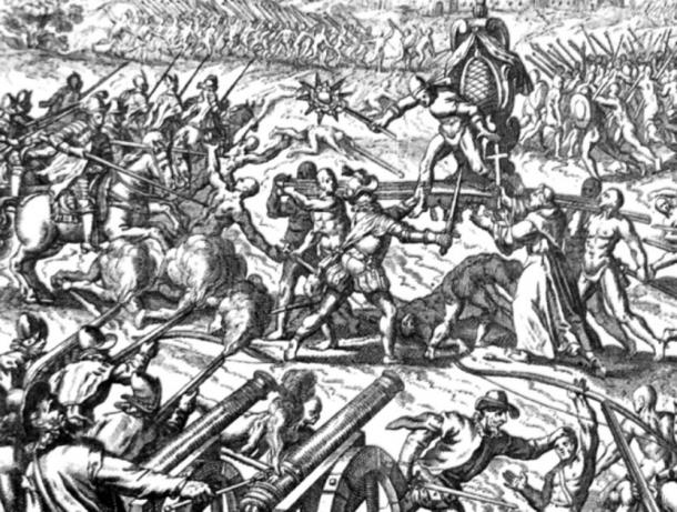 Engraving of the Battle of Cajamarca, showing Emperor Atahualpa surrounded on his palanquin. (Jacek Halicki / Public Domain)