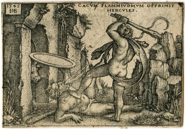 Engraving of Hercules killing Cacus at his cave, from The Labors of Hercules. (Hans Sebald Beham (c.1525) / Public domain)