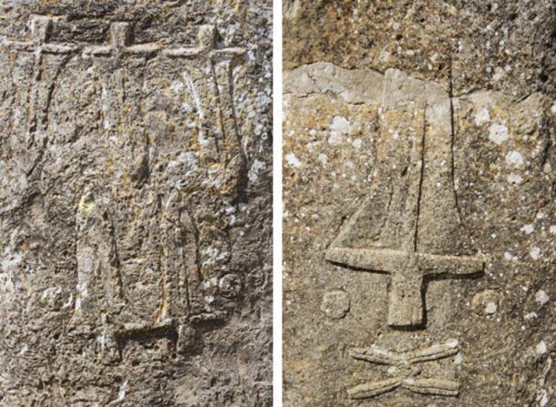 Engravings on the Tiya stones.