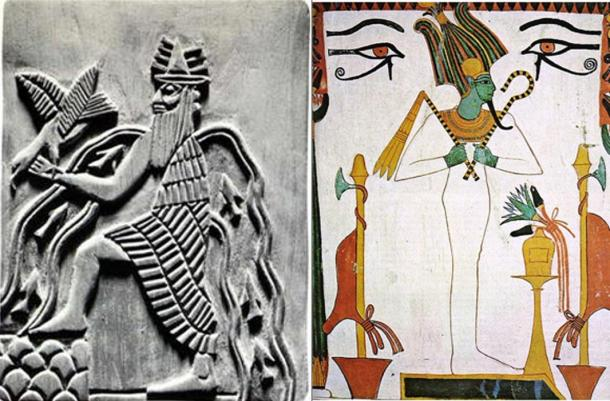 Representations of the Sumerian god Enki and the ancient Egyptian god Osiris