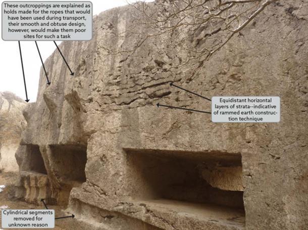 Enormous cut stones at Yangshan [credit: Vmenkov]