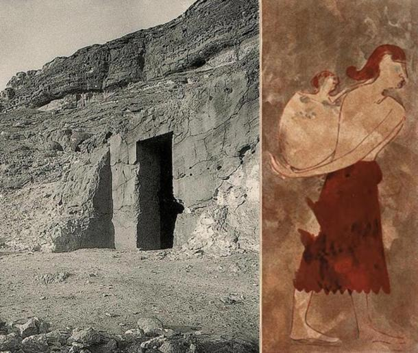 Left: Entrance of the tomb BH14 of the nomarch Khnumhotep I at Beni Hasan. Reign of Amenemhat I, early 12th Dynasty, Middle Kingdom. Right: A Libyan or Kushite woman with her baby, depicted in Khnumhotep I's tomb.