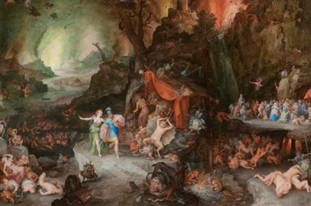 """""""Entrance to Hades, a depiction of a subterranean underworld populated by strange creatures, surreal landscapes, and supernatural gods."""" Aeneas and the Sibyl in the Underworld (Jan Brueghel, ca. 1600, oil)."""