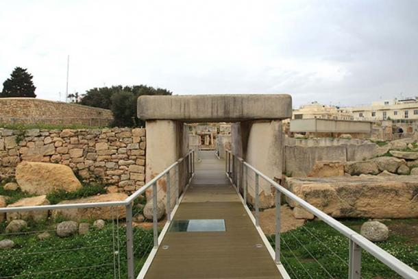 Entrance to the Tarxien Temple complex in Tarxien, Malta.