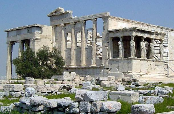 The Erechtheion, ancient Greek temple at the Acropolis of Athens. It was dedicated to Poseidon and Athena.