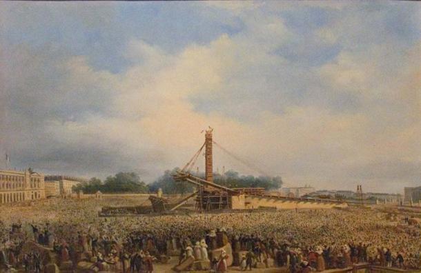 Erection of the Luxor obelisk on the place de la Concorde.
