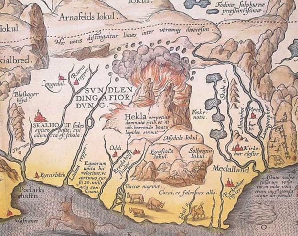 Eruption of Helka, from a detail of a map of Iceland by 16th century cartographer Abraham Ortelius. (Public Domain)