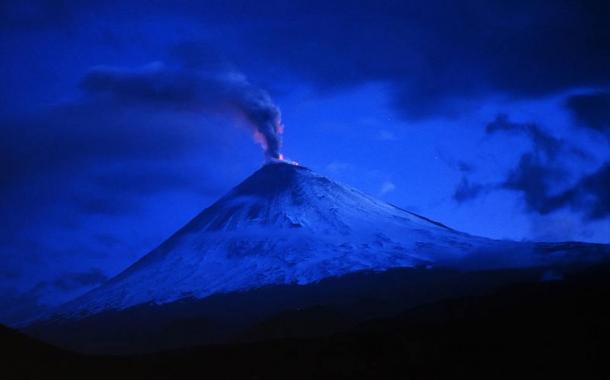 Eruption of Klyuchevskoi volcano in Kamchatka, Russia in the summer of 1993.