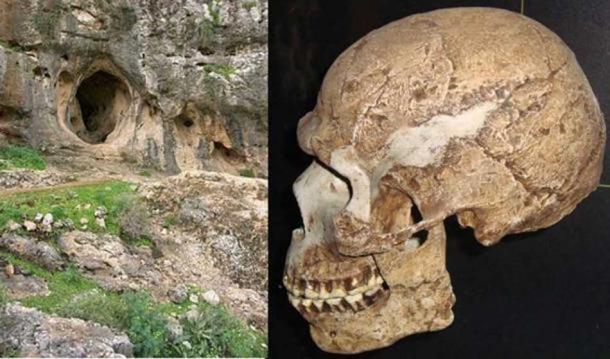 Left: Es Skhul Cave, Mount Carmel, Israel (CC BY SA 3.0). Right: A skull found in the cave, which represents an archaic and anatomically modern human