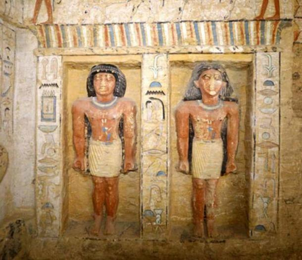 Statues in Wahtye's tomb. Credit: Egyptian Ministry of Antiquities