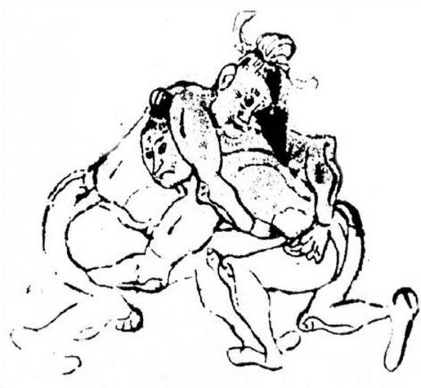 Etching of a Shuai jiao wrestling match during the Tang Dynasty. (Public Domain)