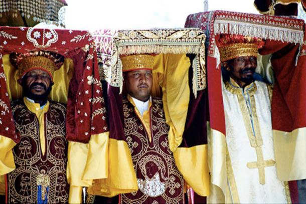 Ethiopian Orthodox priests during a Timkat procession, Addis Ababa, Ethiopia.