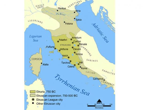 A map showing the extent of Etruria and the Etruscan civilization. The map includes the 12 cities of the Etruscan League and notable cities founded by the Etruscans.