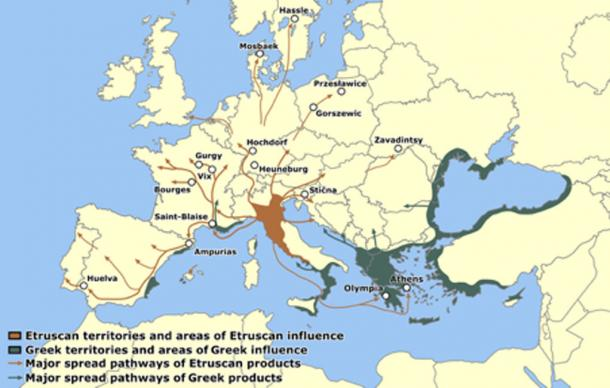 Etruscan territories and major spread pathways of Etruscan trade routes. (0 Noctis 0 / CC BY-SA 4.0)