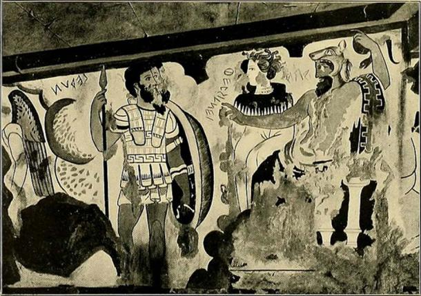 Etruscan tomb paintings represent women as white and men darker. (Public Domain)