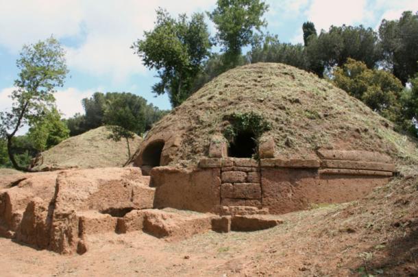 Etruscan tumulus tomb in Cerveteri.